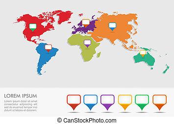 eps10, 指針, infographics, 地圖, 世界, 位置, geo, file.
