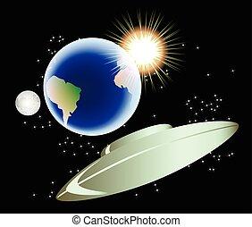 eps10, 摘要, 插圖, 月亮, 矢量, sun., 背景, 地球