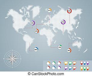 eps10, 百分比, 地圖, infographics, 世界, 環繞, file.