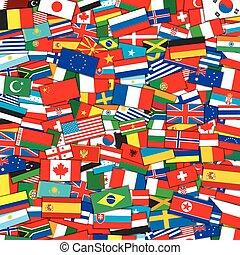 eps10, 背景。, 矢量, 旗, 樣板, 世界