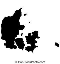 eps10, 黑色, 矢量, 地圖, 黑色半面畫像, illustration., 丹麥