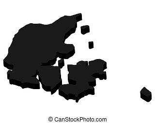 eps10, 黑色, 3d, 地圖, 丹麥, 黑色半面畫像, illustration., 矢量