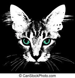 eyes., 頭, 矢量, 綠色的貓
