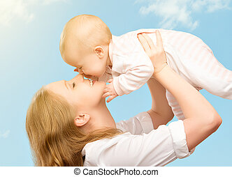 family., 天空, 母親, 嬰孩, 親吻, 愉快
