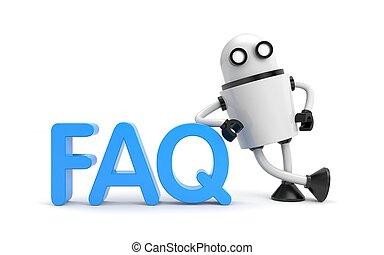 faq., 詞, 機器人, 插圖, 3d