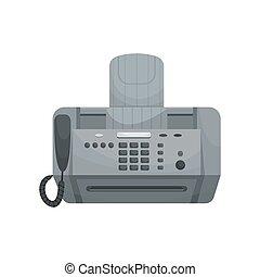 fax., 矢量, 設備, phones., 被隔离, 辦公室, 打印机