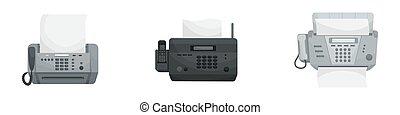 faxes., 矢量, 設備, phones., 集合, 被隔离, 辦公室, 三, 打印机