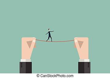 finance., 戰略, 電線, 風險, 事務, 最簡單派藝術家, 危險, 領導, 目標, 符號, 拉緊的繩索, 平衡, 高, 矢量, 上面, 步行, 商人, 任務, style., 人