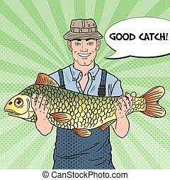 fish., 好, 藝術, 大, 流行音樂, 矢量, 漁夫, 插圖, 微笑, catch.