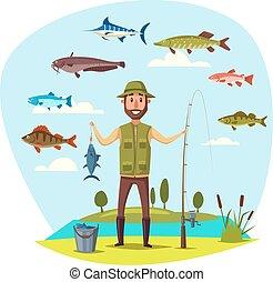 fish, 矢量, 釣魚抓住, 漁夫, 人