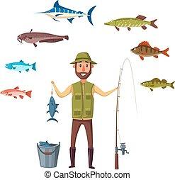 fish, 被隔离, 抓住, 矢量, 魚, 漁夫, 人