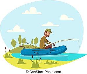 fish, 鞭笞, 矢量, 釣魚, 漁夫, 小船, 人