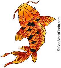 fish, koi, 白色, 卡通, 背景, 游泳