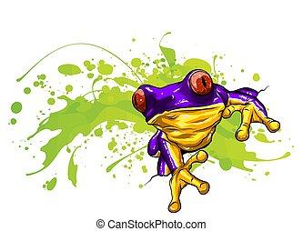 frog., 很少, 插圖, 漂亮, 矢量