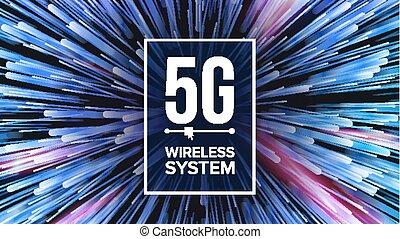 generation., vector., wi-fi, 速度, 第5, connection., 插圖, 標准, 高, 未來, 背景, 革新, 五, 5g, transmission., 技術, 信號