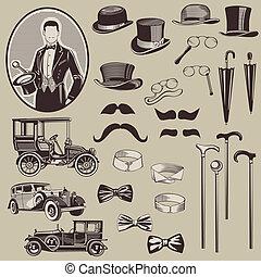 gentlemen's, 老, 汽車, -, 附件, 高, 矢量, set-, 質量