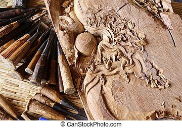 gouge, 工作, 木制, 工具, 鑿子, 木匠, 木頭
