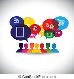 graphic., 媒介, 閒談, 网, 聯网, 消費者, 圖象, 媒介, -, 通訊, 也, 網上 購物, 購物, 用戶, 網際網路, 圖表, 代表, 相互作用, 這, &, 矢量, 社會, 或者