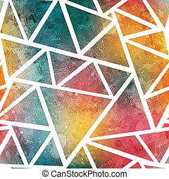 grunge, 上色, 圖案, 影響, seamless, 三角形
