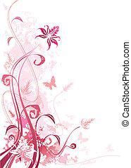 grunge, 粉紅色, 植物
