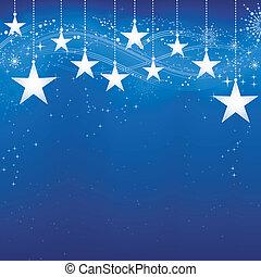 grunge, 藍色的背景, 雪, elements., 聖誕節, 喜慶, 黑暗, 星, 薄片