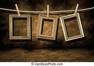 grunge, 金, 困厄, 相片, 背景, 框架