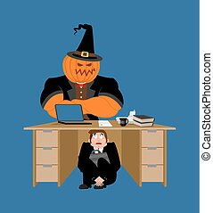 halloween., 隱藏, 辦公室, 事務, 惊嚇, 工作, pumpkin., 老板, desk., 矢量, 插圖, 在下面, board., 桌子, 商人, 受驚, 懼怕, 人