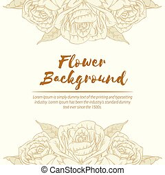 handdrawn, 略述, 背景, 花, 上升, 植物