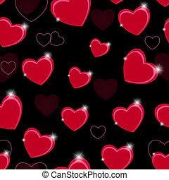 heart., 圖案, 華倫泰, seamless, 插圖, 矢量, 背景, 天, 愉快
