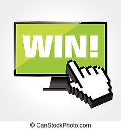 high-quality, 監控, 贏得, 顯示, screen., 電腦, 詞, 顯示