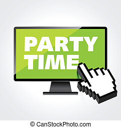 high-quality, 監控, 顯示, screen., 電腦, 詞, 時間, 黨, 顯示