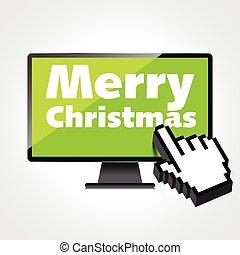 high-quality, 監控, concept., 現代, screen., 网, 聖誕節, 電腦, 歡樂, 顯示