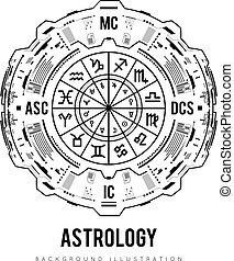 hud, 背景。, natal, 插圖, 房子, 圖表, 矢量, 接口, 黃道帶, significators., 簽署, 占星術, 未來, design.
