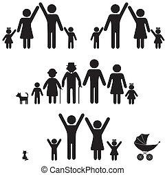 icon., 人們, 黑色半面畫像, 家庭