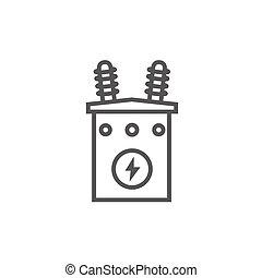 icon., 電壓, 線, 高, 變壓器