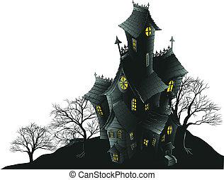 illus, 嵌接, 縈繞心頭, 樹, 房子