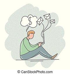 illustration., 坐, 辦公室。, 膝上型, 矢量, 人