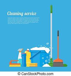 illustration., 矢量, 公司, 工具, 清掃, 服務, 設計, 房子, 風格, 套間, 概念, 海報