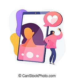 illustration., 矢量, 概念, selfie, 摘要
