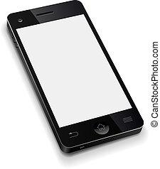 illustration., 電話, 流動, 屏幕, 現實, 矢量, 樣板, 空白, 白色, 3d