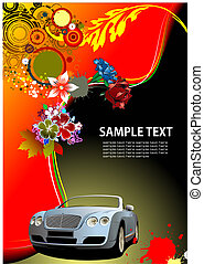 image., cabriolet, 汽車, 矢量, 背景, 邀請, 植物, 卡片, illustration.