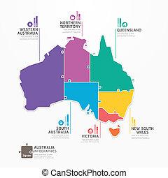 infographic, 地圖, 概念, banner., 豎鋸, 插圖, 澳大利亞, 矢量, 樣板