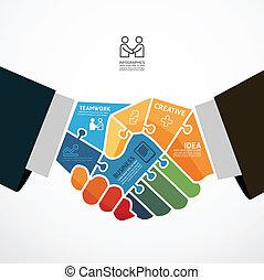 infographic, 握手, 概念, 豎鋸, 插圖, 矢量, 樣板, 商人, 旗幟