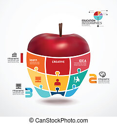 infographic, 概念, 蘋果, 豎鋸, 插圖, 矢量, 樣板, 旗幟