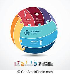 infographic, 概念, 豎鋸, 插圖, 矢量, 排球, 樣板, 旗幟