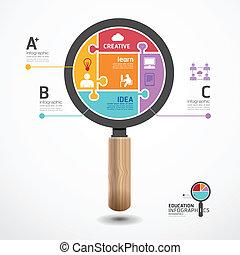 infographic, 概念, 豎鋸, 插圖, 矢量, 樣板, 放大器, 旗幟