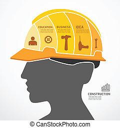 infographic, 概念, 豎鋸, 矢量, 建設, 插圖, 樣板, 旗幟