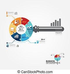 infographic, 概念, 鑰匙, 事務, 豎鋸, 插圖, 矢量, 樣板, 旗幟