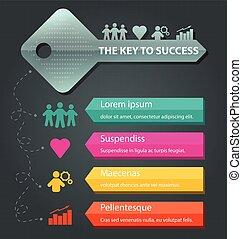 infographic, 概念, 鑰匙, 商業描述, 矢量, 樣板