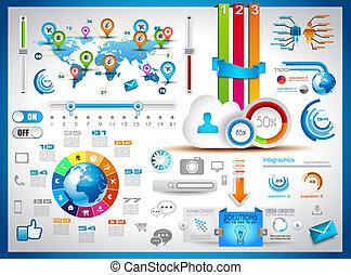 infographic, 集合, 記號, -, 紙, 元素